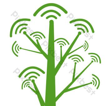 綠色無線網絡技術樹 元素 模板 PSD
