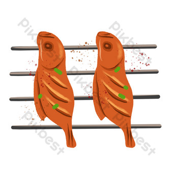 Grilled fish seafood barbecue PNG Images Template PSD