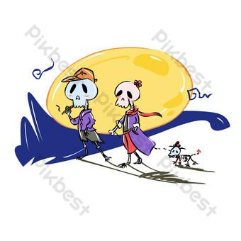 pareja de calavera de dibujos animados de halloween y cachorro caminando bajo la luna Elementos graficos Modelo AI
