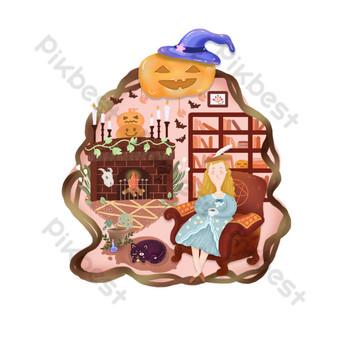 هالوين الأوروبي الرجعية مشهد المنزل الموقد سيدة القط الأسود رف الكتب أريكة صور PNG قالب PSD