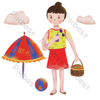 Hand drawn cartoon creative summer seaside travel girl illustration PNG Images Template PSD