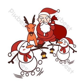 dibujado a mano dibujos animados lindo navidad santa claus con muñeco de nieve Elementos graficos Modelo PSD