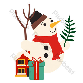 ومن ناحية رسم الكرتون لطيف ثلج سمين أبيض وهدية رائعة منزل صغير صور PNG قالب PSD