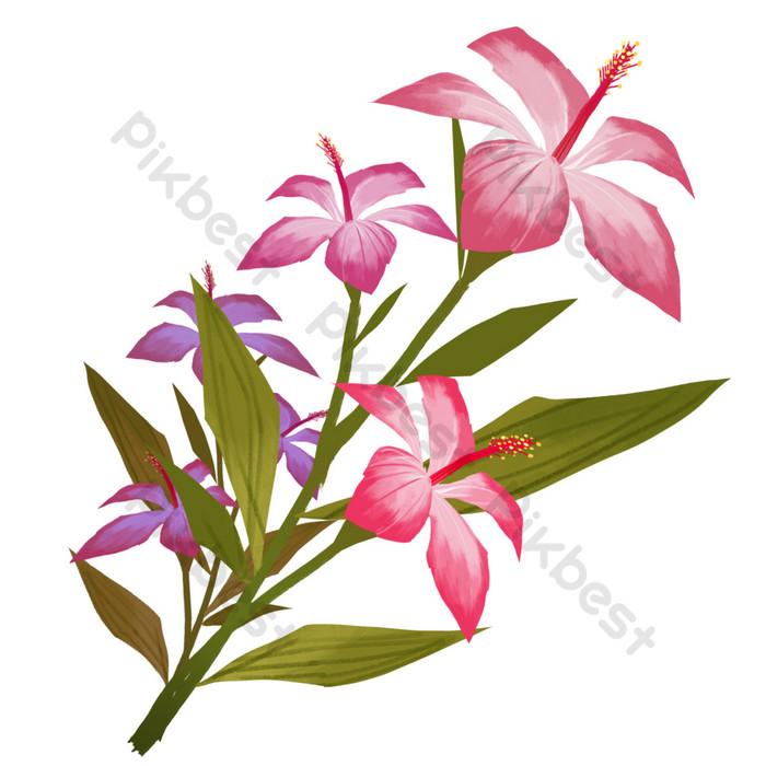 Bunga Bunga Cantik Datar Kartun Yang Digambar Tangan Elemen Grafis Templat Psd Unduhan Gratis Pikbest
