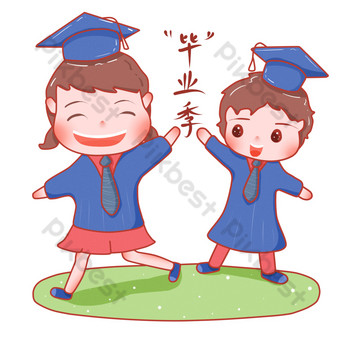 Hand drawn cartoon fresh and happy graduation season Png illustration PNG Images Template PSD