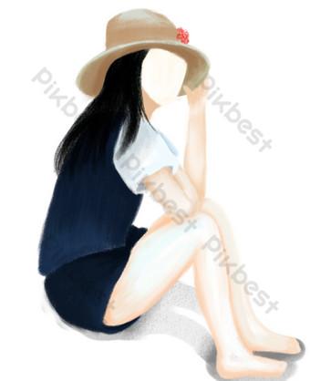 dibujado a mano niña de dibujos animados sentada en el suelo pensando Elementos graficos Modelo PSD