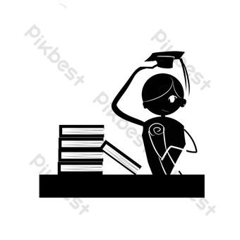 dibujado a mano dibujos animados temporada de graduación blanco y negro silueta simple soltero uniforme soltero sombrero libros Elementos graficos Modelo PSD