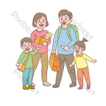 Gambar Keluarga Lima Orang Png Kartun Lukisan Vektor Free Download Pikbest