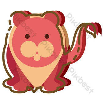Hand drawn cartoon red sea lion PNG Images Template PSD