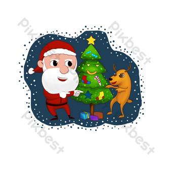 dibujado a mano dibujos animados santa claus árbol de navidad Elementos graficos Modelo PSD