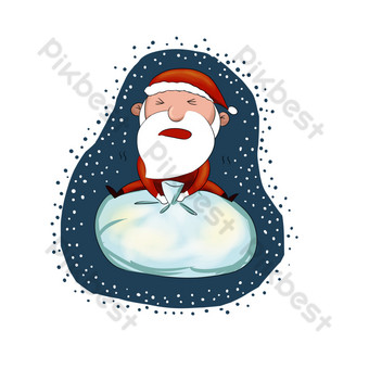 dibujos animados dibujados a mano santa claus con regalos Elementos graficos Modelo PSD