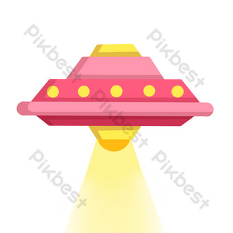 dibujado a mano ilustración de nave espacial de dibujos animados Elementos graficos Modelo PSD