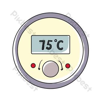 لوازم المطبخ صناعة المطاعم مرسومة باليد ميزان الحرارة جولة صور PNG قالب PSD