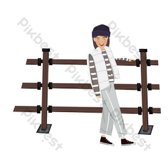 Hand-drawn character by the fence of Goddess Festival PNG Images Template PSD