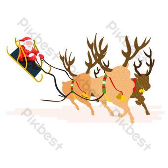 dibujado a mano navidad santa claus volando en un trineo tirado por alces Elementos graficos Modelo AI
