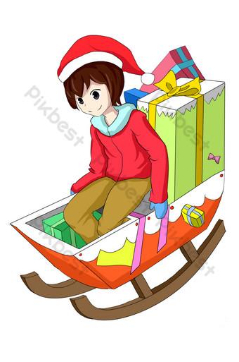dibujado a mano ilustración de personaje de trineo de navidad Elementos graficos Modelo PSD