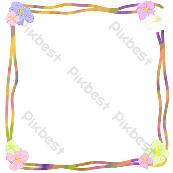 dibujado a mano ilustración de marco de marco de flor de cuatro esquinas Elementos graficos Modelo PSD