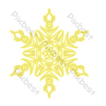 copos de nieve gráficos irregulares dorados dibujados a mano Elementos graficos Modelo PSD