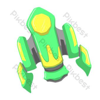 dibujado a mano ilustración de nave espacial verde Elementos graficos Modelo PSD