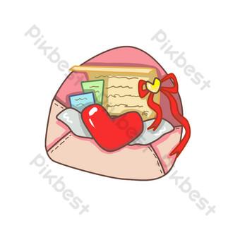 dibujado a mano en forma de corazón carta de amor mbe icono ilustración Elementos graficos Modelo PSD