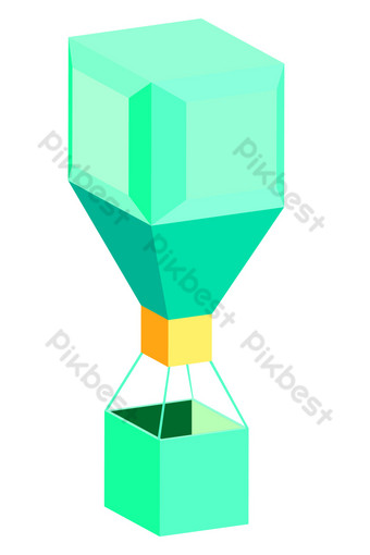 Нарисованная рукой изометрическая зеленая иллюстрация воздушного шара Графические элементы шаблон AI