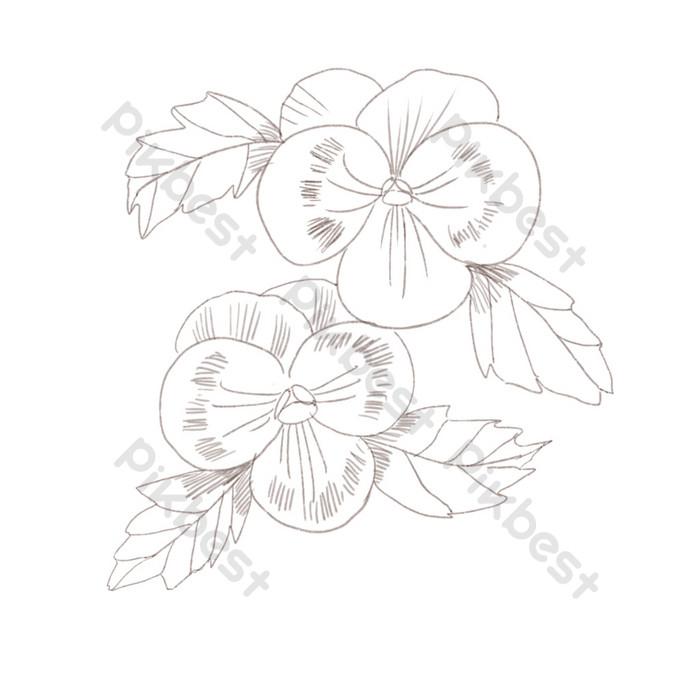 Gambar Garis Tangan Menggambar Ilustrasi Bunga Kupu Kupu Elemen Grafis Templat Psd Unduhan Gratis Pikbest
