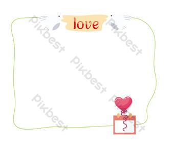 dibujado a mano amor pájaro borde lineal Elementos graficos Modelo PSD