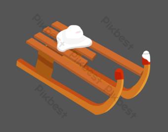 dibujado a mano ilustración de trineo al aire libre Elementos graficos Modelo PSD