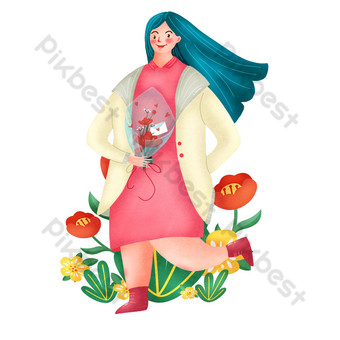 Hand drawn png picture of a girl who received flowers happy PNG Images Template PSD
