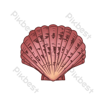 Hand drawn scallop seafood illustration PNG Images Template PSD
