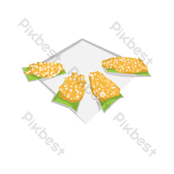 Hand drawn sesame cake gourmet illustration PNG Images Template PSD