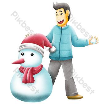 dibujado a mano bola de nieve lucha hombre de mediana edad haciendo muñeco de nieve Elementos graficos Modelo PSD