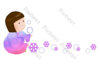 línea divisoria de burbuja de copo de nieve dibujada a mano Elementos graficos Modelo PSD