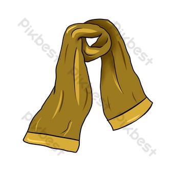 dibujado a mano ilustración de bufanda marrón de invierno Elementos graficos Modelo PSD
