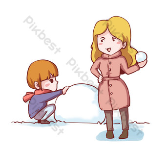 dibujado a mano niña de vacaciones de invierno divirtiéndose jugando bola de nieve Elementos graficos Modelo PSD