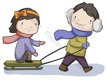 dibujado a mano ilustración de trineo de vacaciones de invierno Elementos graficos Modelo PSD