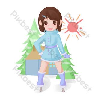 dibujado a mano invierno pista de patinaje niña personaje ilustración Elementos graficos Modelo PSD