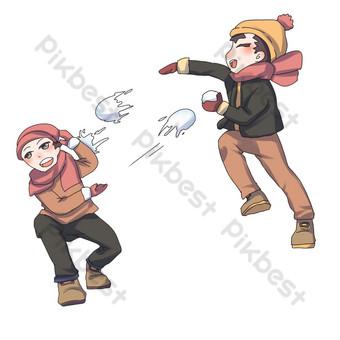 dibujado a mano ilustración de personaje de bola de nieve de invierno Elementos graficos Modelo PSD