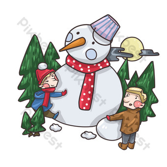 مرسومة باليد ثلج الشتاء الأطفال التوضيح صور PNG قالب PSD
