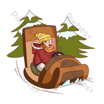 dibujado a mano ilustración de deportes de trineo de viajes de invierno Elementos graficos Modelo PSD
