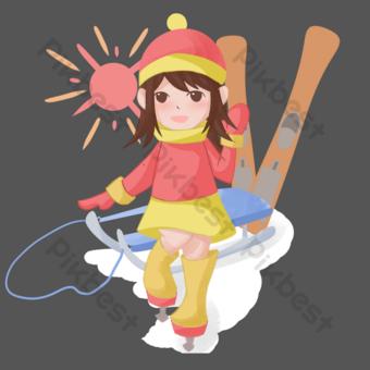 dibujado a mano invierno viajes trineo niña ilustración Elementos graficos Modelo PSD