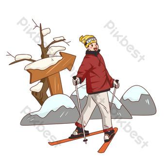 dibujado a mano viajes de invierno deportes de nieve esquí ilustración Elementos graficos Modelo PSD
