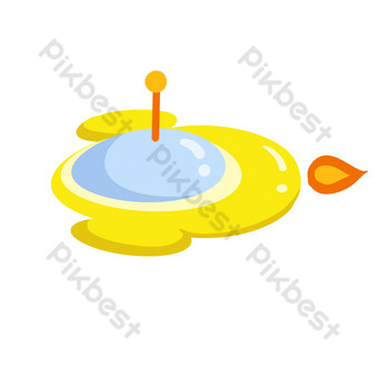 dibujado a mano ilustración de nave espacial amarilla de dibujos animados Elementos graficos Modelo PSD