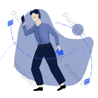 drawing business information processing serious work illustration png picture PNG Images Template PSD