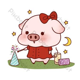 dibujos animados pintados a mano año nuevo para cerdos y fuegos artificiales para celebrar el año nuevo sin hebilla psd en capas Elementos graficos Modelo PSD
