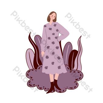 pintado a mano vector de dibujos animados simple día de las niñas 3 8 tono morado pequeña niña fresca Elementos graficos Modelo PSD