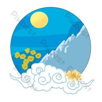 patrón decorativo de luna brillante de estilo chino pintado a mano Elementos graficos Modelo PSD