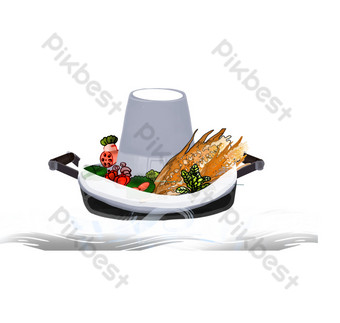 Hand painted fresh seafood hot pot decorative elements PNG Images Template PSD