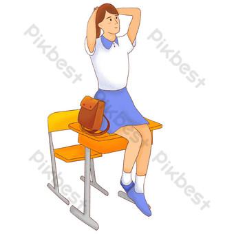 niña pintada a mano sentada en la mesa después de clase Elementos graficos Modelo PSD