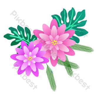 مرسومة باليد أوراق خضراء يترك عناصر تصميم ناقلات الزهور صور PNG قالب PSD